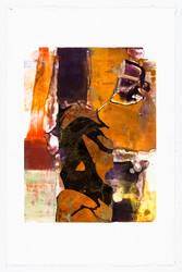 Warm Embrace, Monotype with Collage, Oil-Based Etching